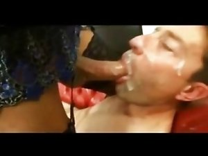 Dude eat tranny cum and jerks big dick