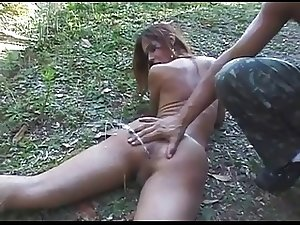 Wet Game for Cute Shemale in Forest BVR