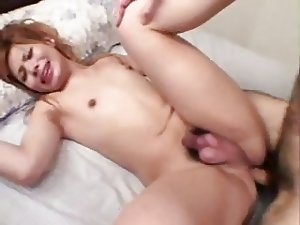 Cute Japanese Shemale Gets Her Small Cock Cummed On